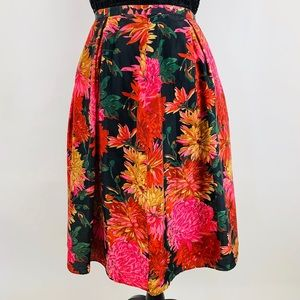 TALBOTS Red Pink Black Silk A-Line Floral Skirt 6